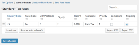 WooCommerce state tax rate configuration