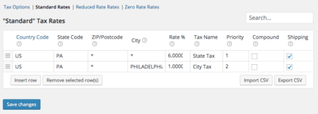 WooCommerce philadelphia tax rate setup