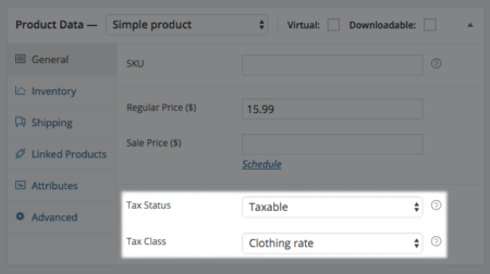 WooCommerce Product tax class