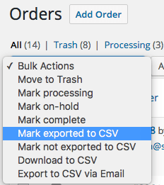 WooCommerce Customer / Order CSV Export: New bulk actions