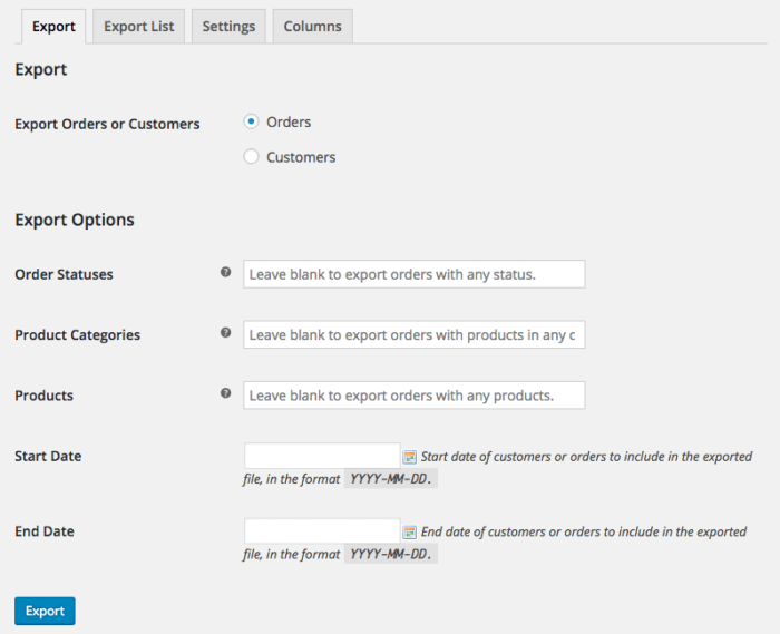 WooCommerce Customer / Order CSV Export: Order Export filtering