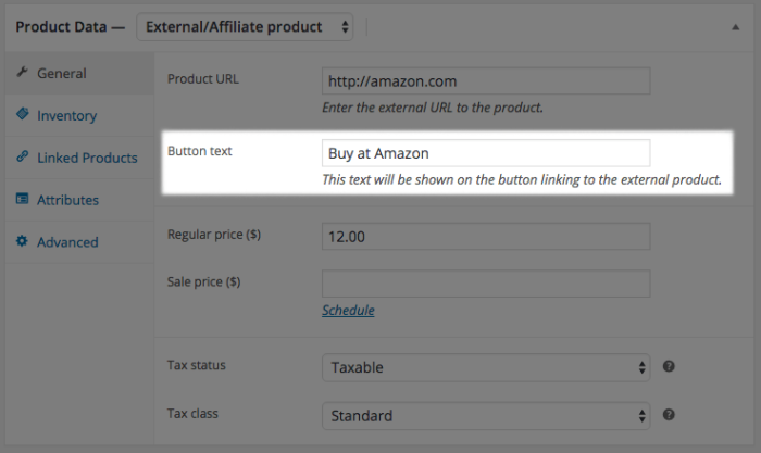 WooCommerce external product button