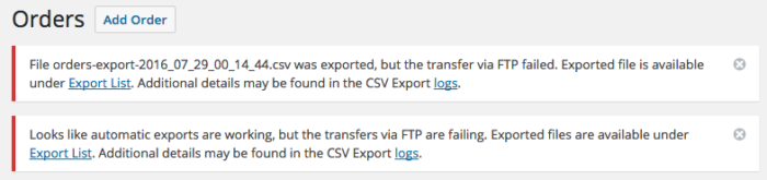 WooCommerce Customer / Order CSV Export transfer failures