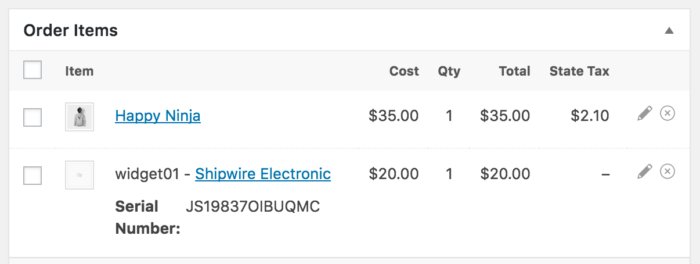 WooCommerce Shipwire Serial Number