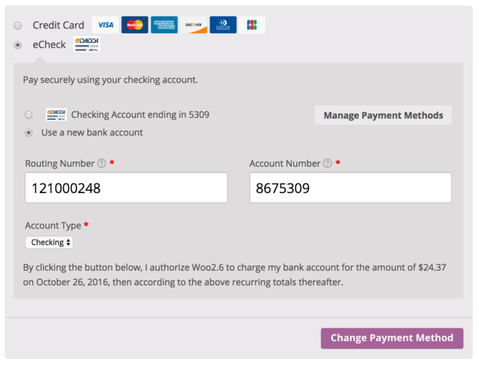 WooCommerce Authorize.Net CIM Recurring-Purchase Authorization