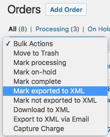 WooCommerce Customer / Order XML Export: bulk order actions