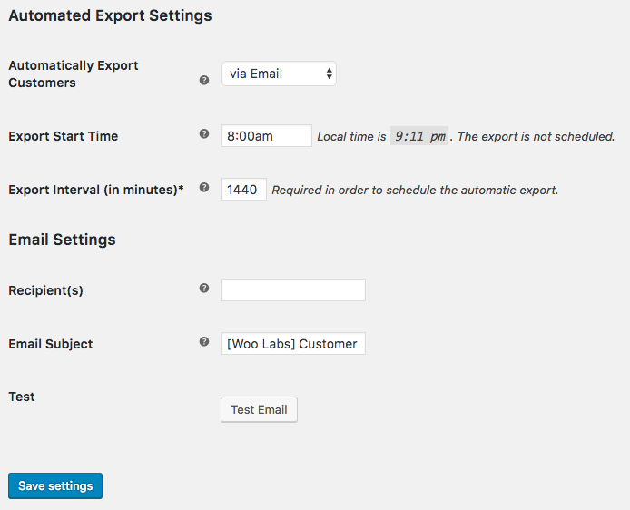 WooCommerce Customer / Order XML Export: automated customer export
