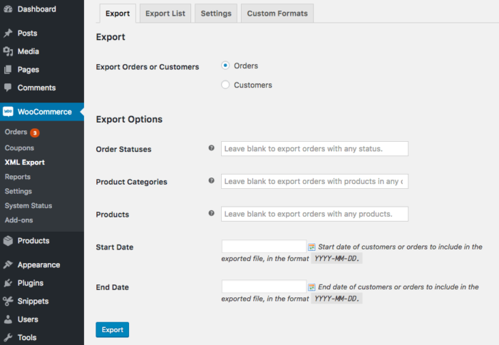 WooCommerce Customer / Order XML Export: new order filters