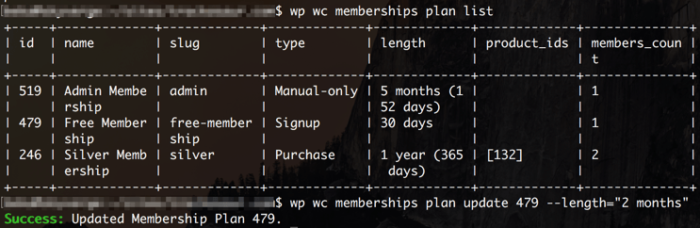 WooCommerce Memberships CLI Support