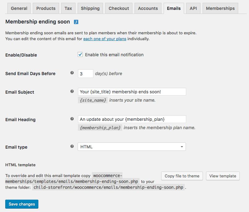 Woocommerce memberships 17 member emails new plan options and woocommerce memberships email settings altavistaventures Choice Image