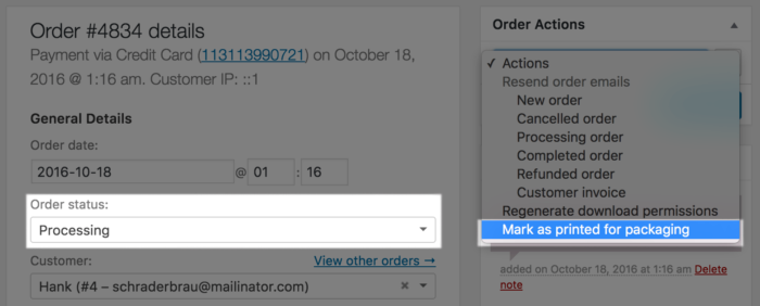 WooCommerce Custom Order Actions Added for Paid Order
