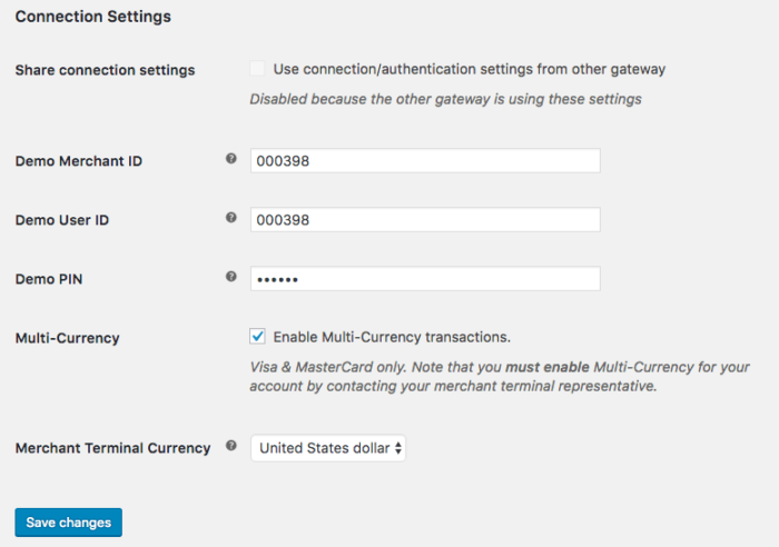 WooCommerce Elavon Connection Settings