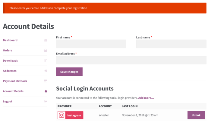 WooCommerce Social Login: email missing - new