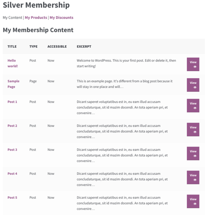 WooCommerce memberships: my content sorting adjusted