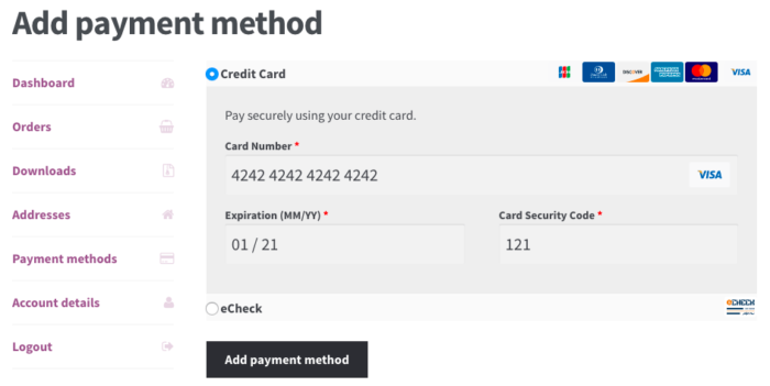 WooCommerce Intuit Payments Add Payment Method