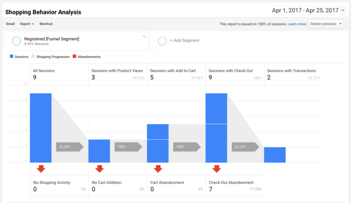 WooCommerce Google Analytics Pro view checkout option segment