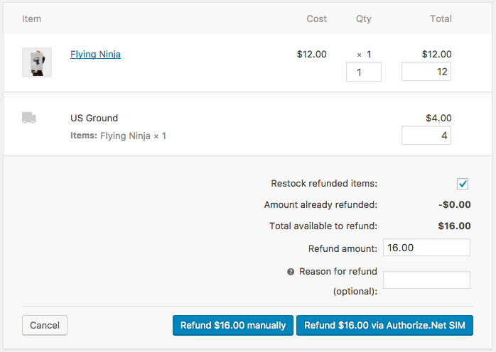 WooCommerce Authorize.Net SIM Process refund