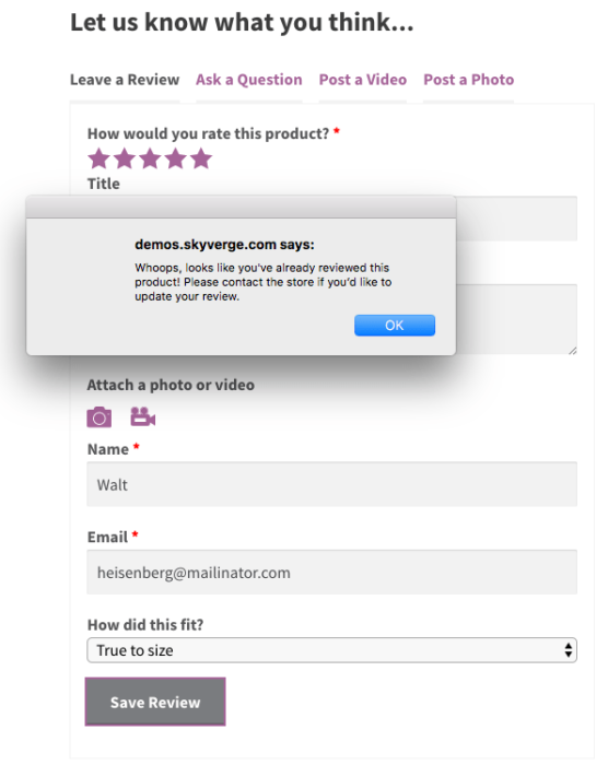 WooCommerce Product Reviews Pro: Can't update review