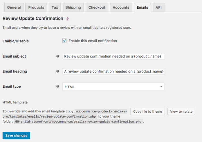 WooCommerce Product Reviews Pro: Review Confirmation email