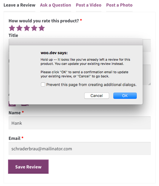 WooCommerce Product Reviews Pro Update review prompt