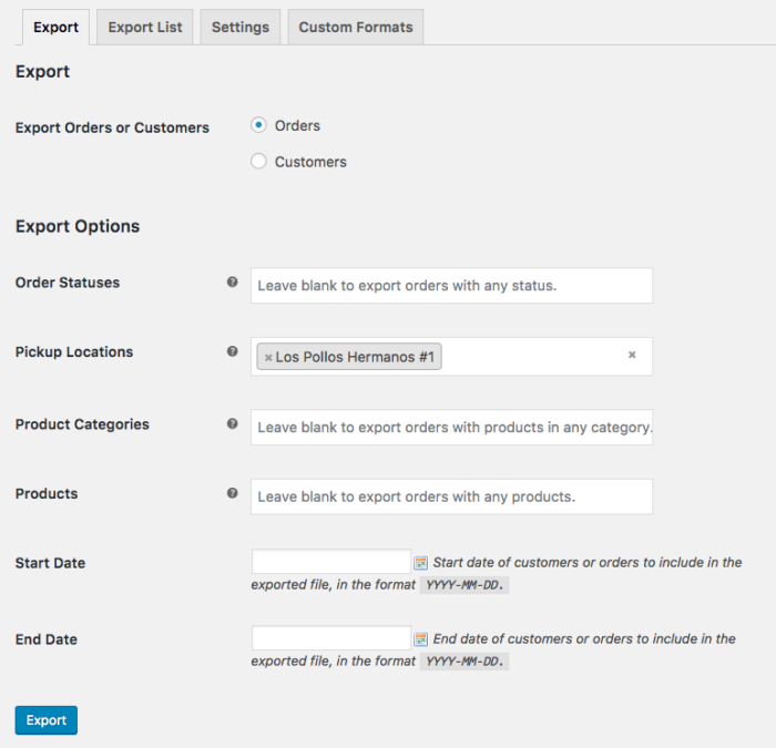WooCommerce Local Pickup Plus order export compatibility