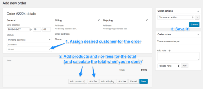WooCommerce create new pending order