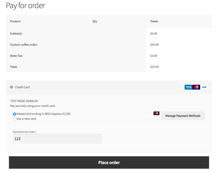WooCommerce Payment page