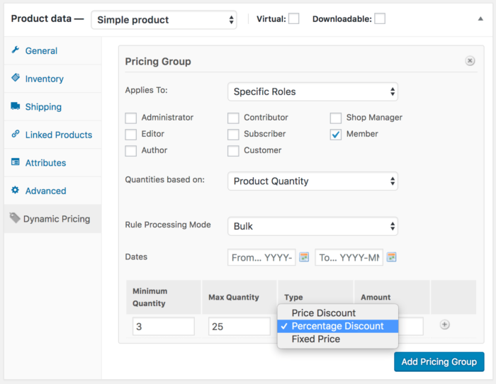 Memberships product dynamic pricing