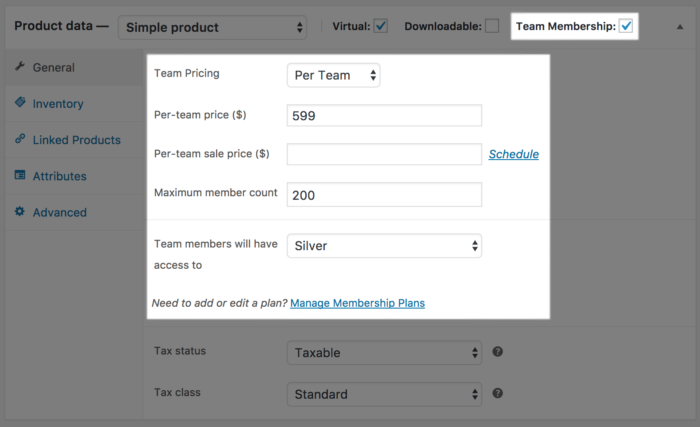 Teams for Memberships: per team pricing