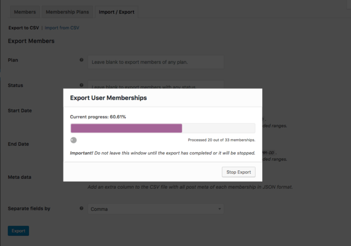WooCommerce Memberships: batch processing exports
