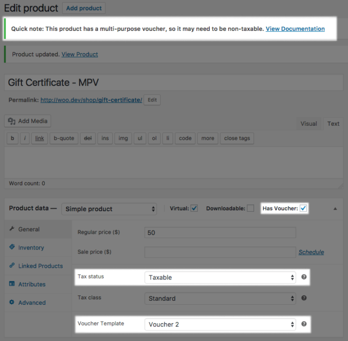 WooCommerce PDF Product vouchers MPV tax settings