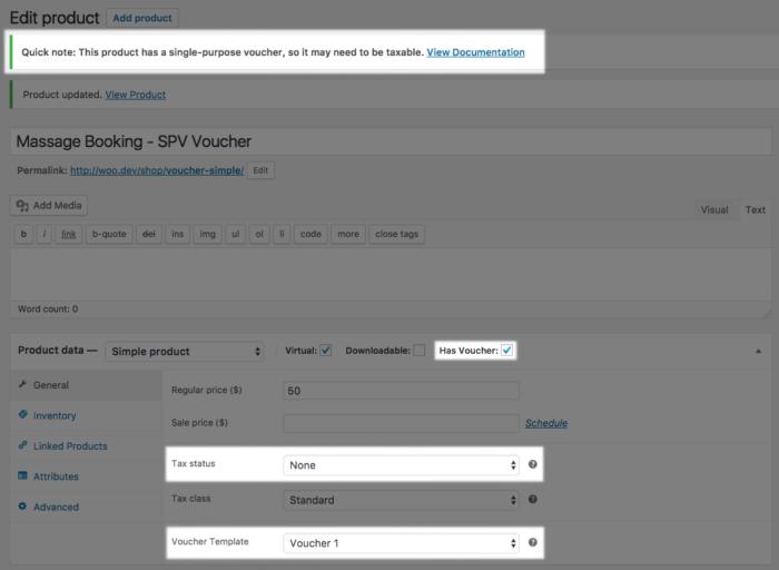 WooCommerce PDF Product vouchers SPV tax settings