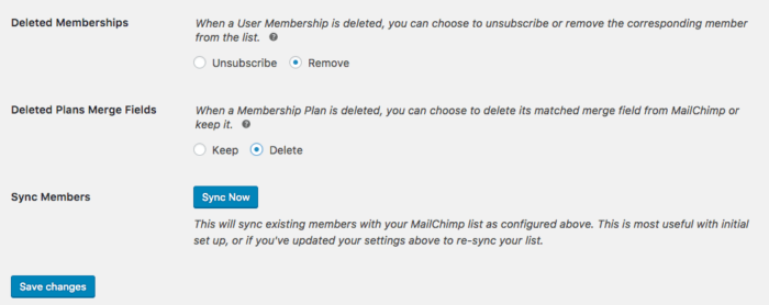 MailChimp for WooCommerce Memberships settings 2