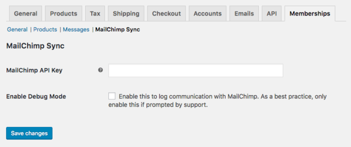 MailChimp for Memberships settings screen