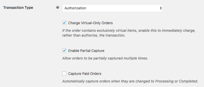 WooCommerce Bambora capture settings