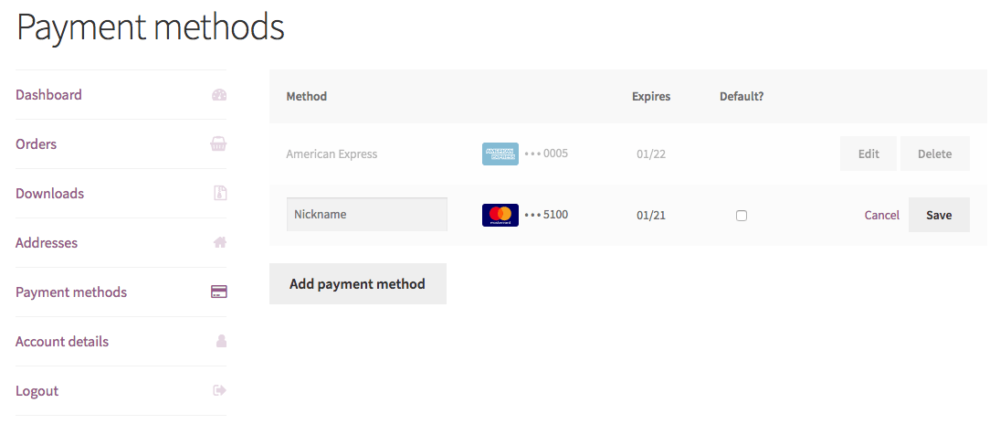 WooCommerce CyberSource my payment methods