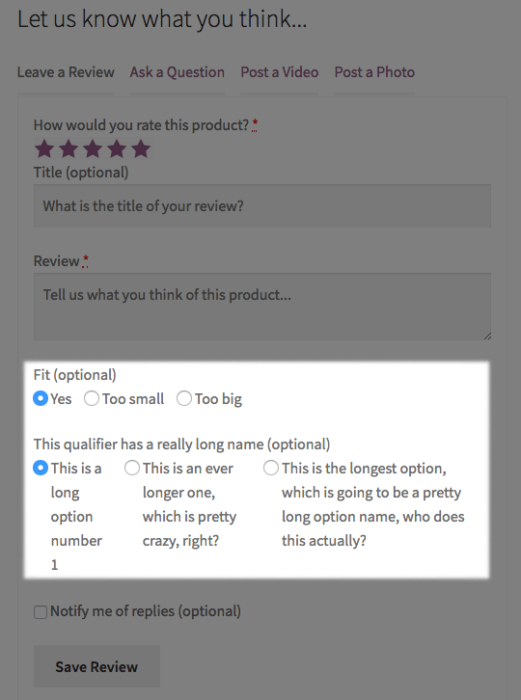 WooCommerce Product Reviews Pro: styled qualifiers