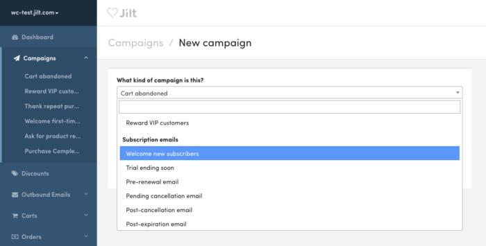 WooCommerce Subscriptions emails in Jilt