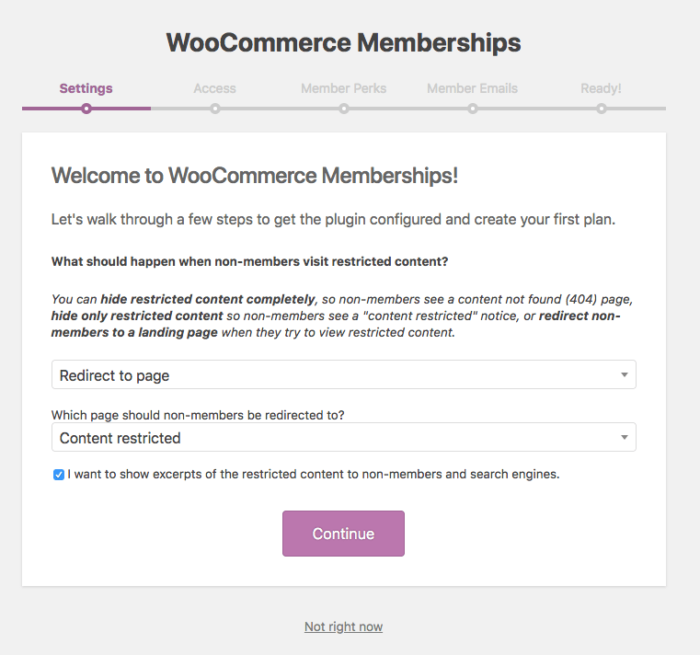 WooCommerce Memberships: onboarding step 1
