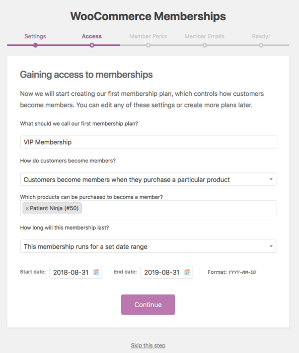 WooCommerce Memberships: onboarding step 2