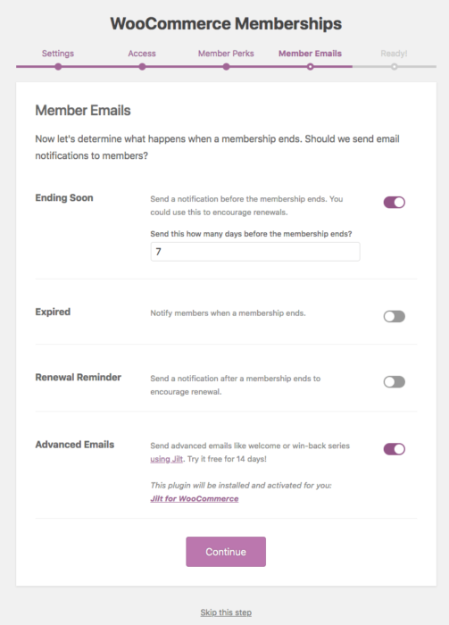 WooCommerce Memberships: onboarding step 4