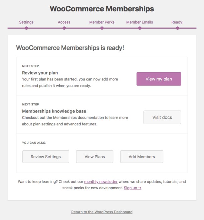 WooCommerce Memberships: onboarding step 5