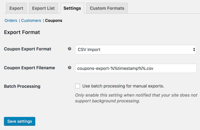 WooCommerce Customer / Order / Coupon csv export: coupon export settings