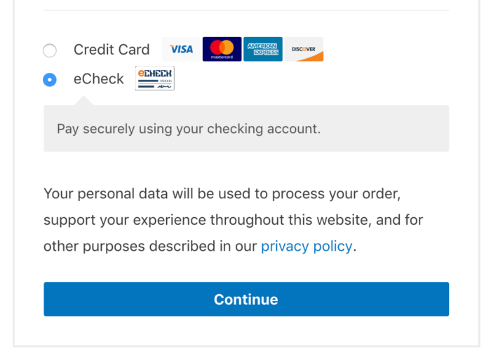 WooCommerce Authorize.Net Hosted eChecks 1