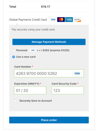 WooCommerce Global Payments checkout