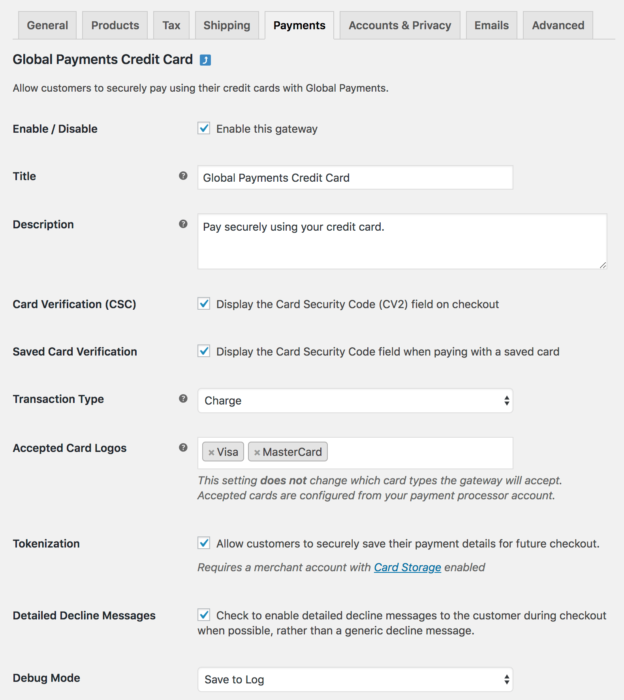 Global payments settings 1