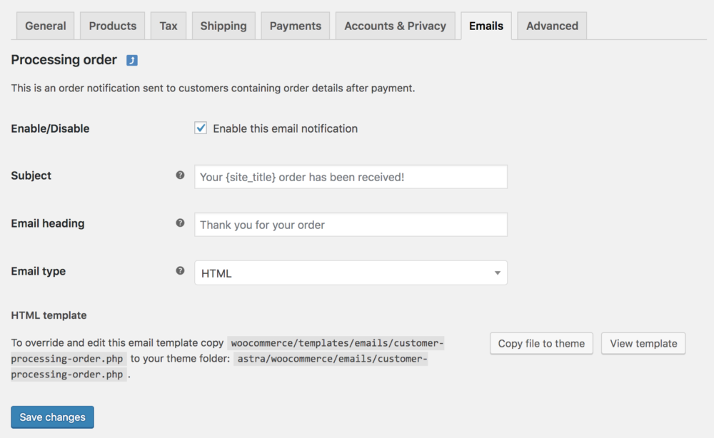 WooCommerce email settings