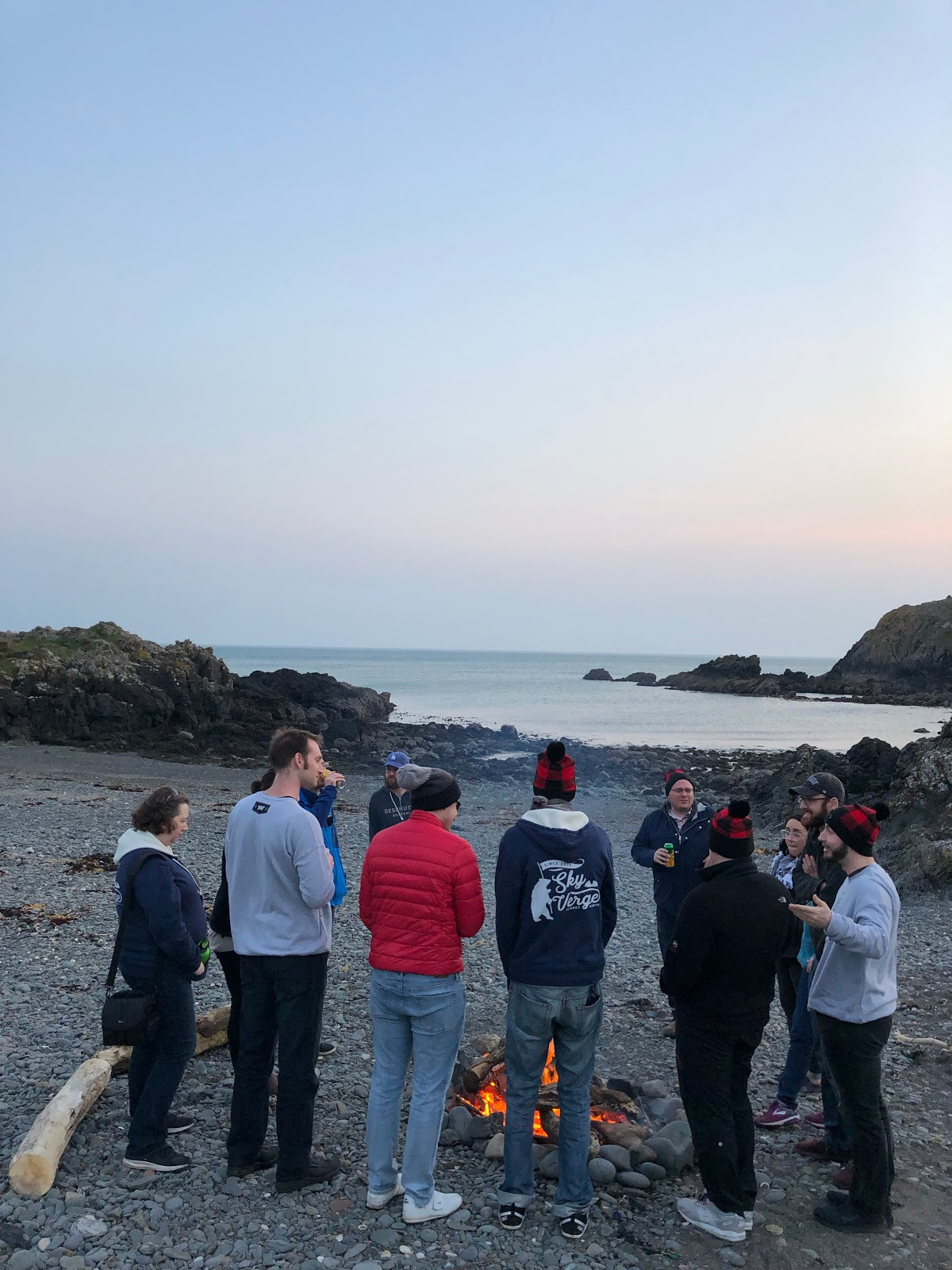 Team SkyVerge beach bonfire in Scotland