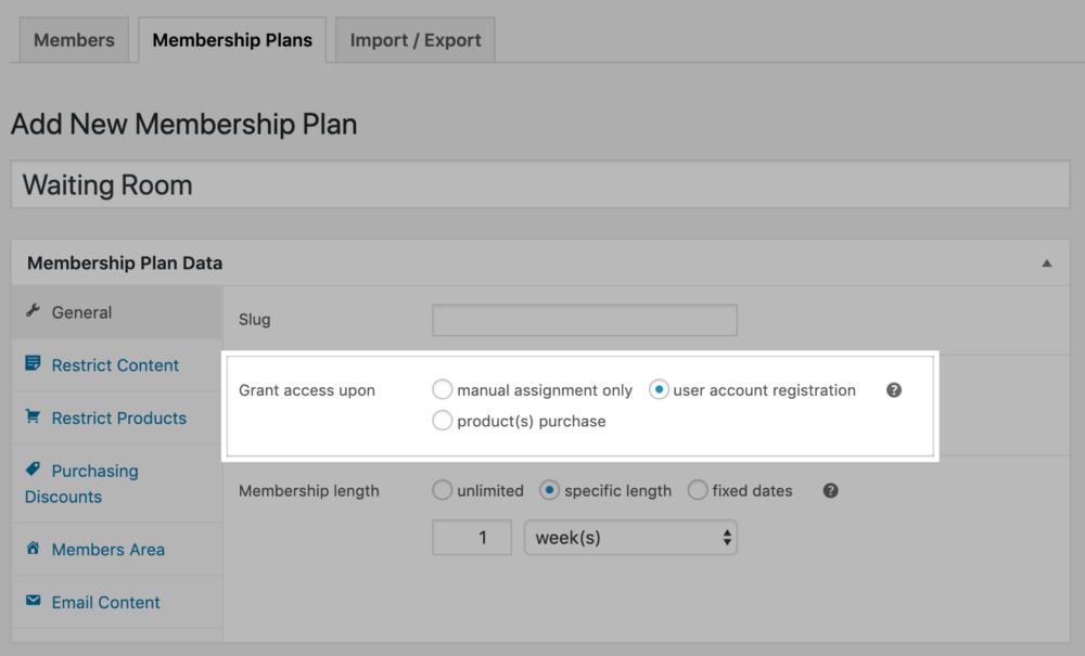 Memberships: registration-based membership