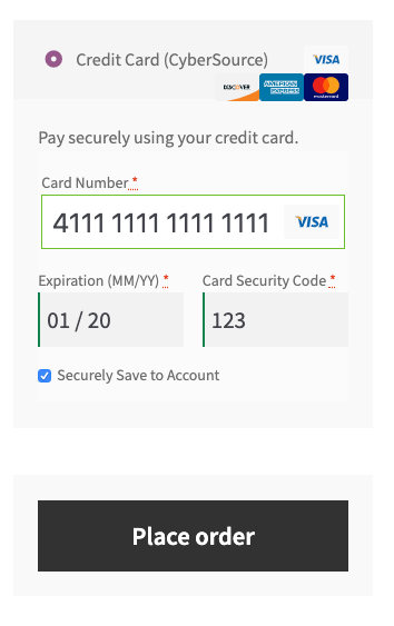 CyberSource checkout in Storefront theme.